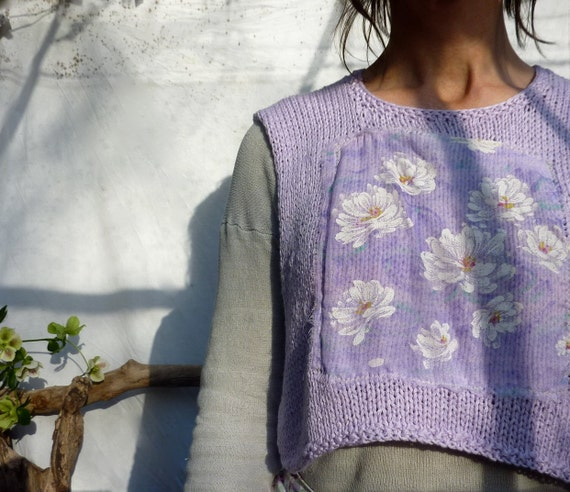 Lilac Flowers Bodice, hand knitted in lavender bamboo yarn with white flowers on lilac chiffon fabric inset