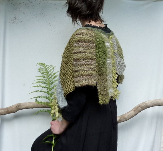 Kelp Forest Capelet, hand knitted patchwork strips in all hues of green and gray, READY TO SHIP