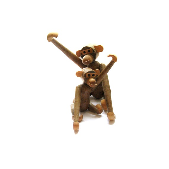 mid century wooden monkeys