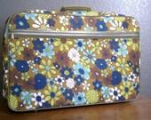 Groovy 1970s Vintage Floral Suitcase Luggage