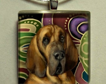 BLOODHOUND DOG 1 inch glass tile pendant with chain