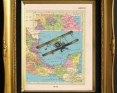 Airplane Print On Antique Mexico Other side is Central America Map Page