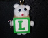 L Teddy Bear Block Ornament For Present Tags Hanging Wooden Block Spelling ABC's