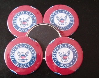 "5 US Navy Refrigerator Magnets, FIVE - 3"" diameter Circular with Fabric and Mylar Sheet"