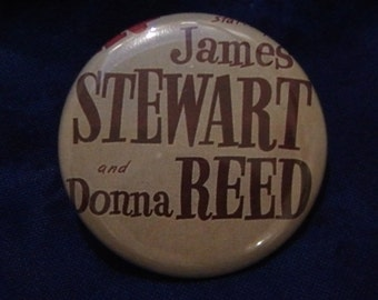 SALE Tie Tack Jimmy Stewart and Donna Reed - 1 1/2 -  1.5 inch tie tack back button