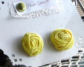 Rosette earrings Fabric Flower . Vintage fabric yellow