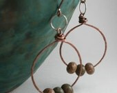 Hoop Earrings Hammered Copper and Sterling  Autumn Jasper  Long Dangle
