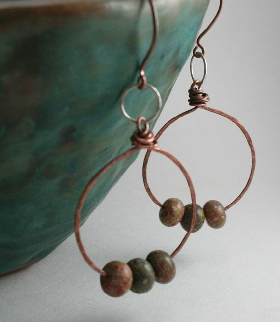 Hoop Earrings Hammered Copper and Sterling  Autumn Jasper  Long Dangle