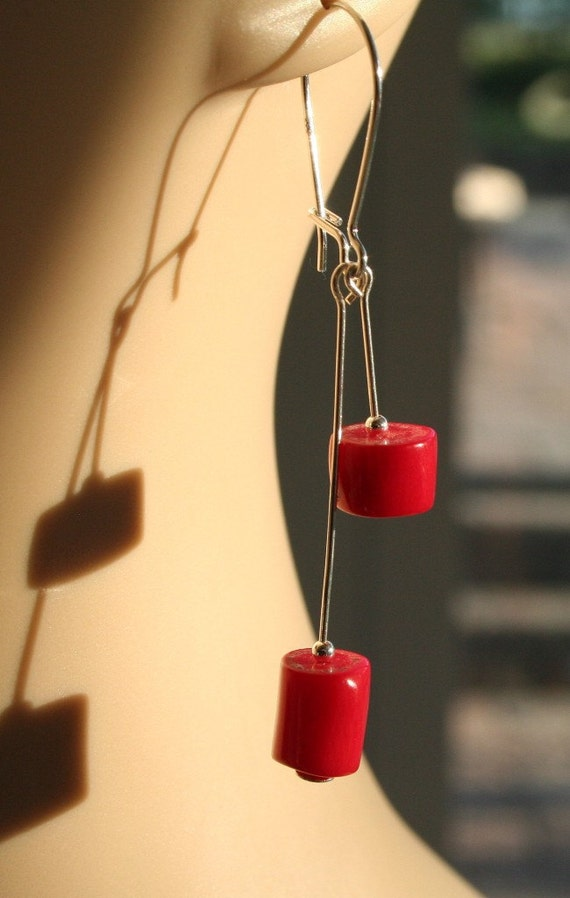 Dangle Earrings Red Coral Sterling Silver