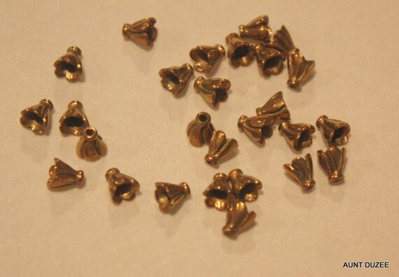 Tiny Vintage Brass Fluted Bead Cap, 5mmx4mm, 7/lot