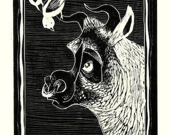 Bull and Birdie Print