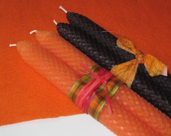 Beeswax Tapers - Pumpkin Orange and Witchy Black - Orange Beeswax Candles - Black Beeswax Candles - Halloween Beeswax Candles