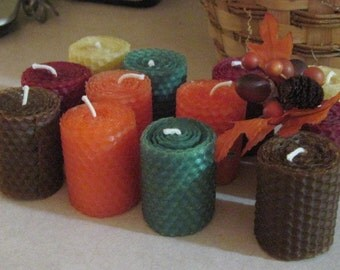 Votive Beeswax Candles - Autumn Colors