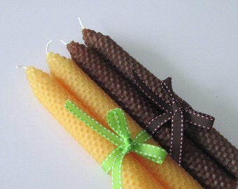 Sunflower Yellow and Brown Beeswax Candles