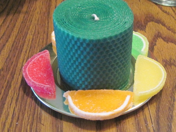 Emerald Green Beeswax Candle