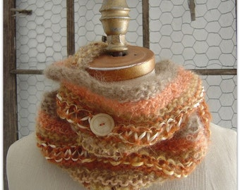 Infinity Cowl Scarf Baby Mohair Orange 50% OFF