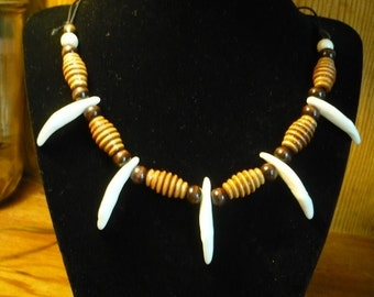 Coyote Tooth Necklace, Native American Indian Inspired, OOAK Modern Primative Unisex