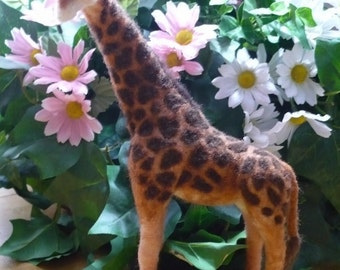 West African Patterned Nubian Giraffe Needle Felted, Beautiful true to life sculpture
