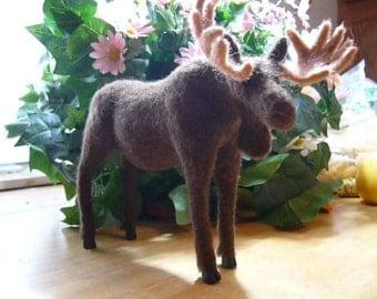MOOSE, Needle Felted Moose with Huge Antlers, OOAK Unusual