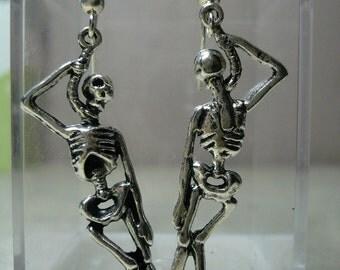 Skeleton Earrings, Gruesome Twosome, Hanging, Biker, Punk, Goth
