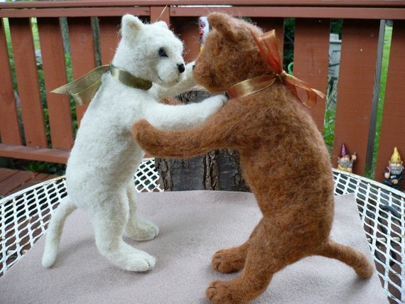 Life Size Kittens Playing, Needle Felted Felting Cats at Play