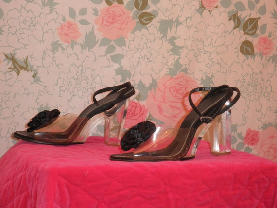 50s lucite black satin Rosette Heels 1950s clear floral ankle strap pin up Shoes size 7