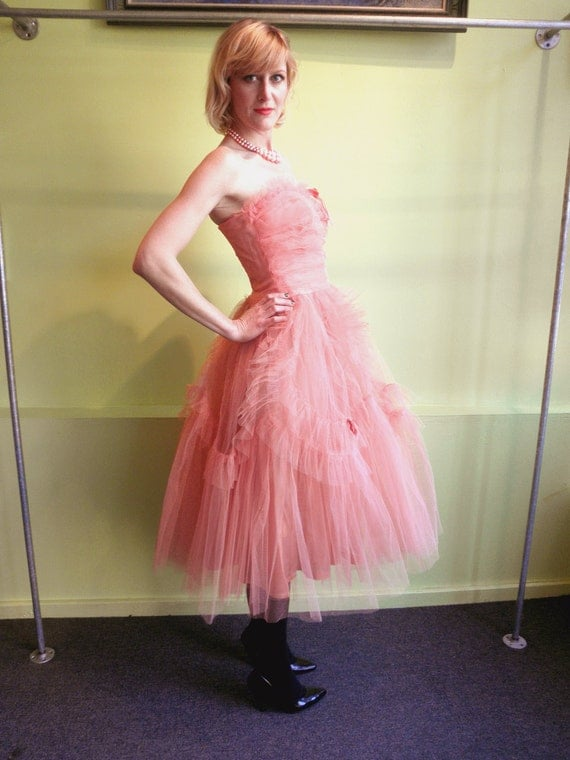 50s pink tulle Prom Dress 1950s full skirt ruffle Party Dress size S XS