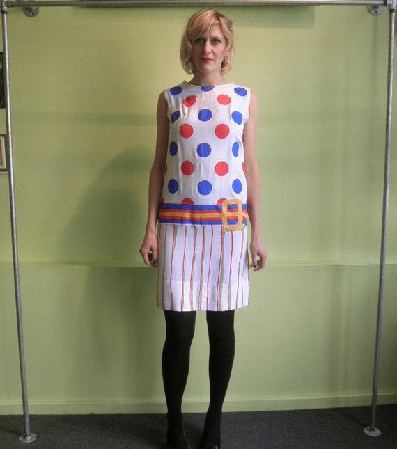 Vintage 60s trompe l'oeil Dress 1960s linen circus belted Shift Dress 60s novelty mod polka dot sheath dress size XS 2