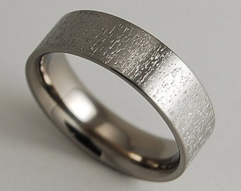 Mens Wedding Band , Titanium Ring , The Acropolis Band with Comfort Fit