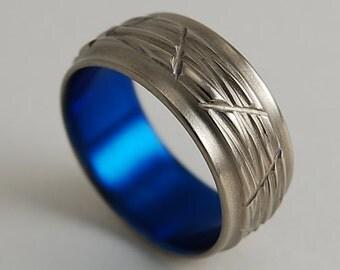 Mens Titanium Ring , Ares in Nightfall Blue