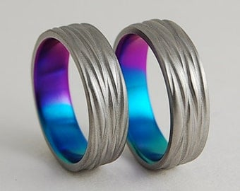 Wedding Bands , Titanium Wedding Band Set , Titnaium Rings , The Sphinx Bands in Sunset Purple , New Beginning Blue and Immortal Green
