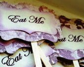 "Purple Damask ""Eat Me"" Cupcake Toppers (Set of 12)"