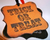 Halloween Black and Orange Trick or Treat Tags - Set of 12 Tags