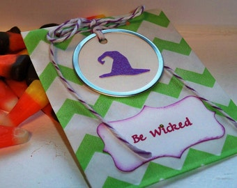 Customizable Witch's Hat Halloween Treat Bag in Green and White Chevron