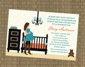 Boy's Baby Shower Invitation - Teal and Orange Nursery Baby Shower Invitation