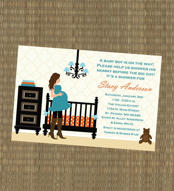 Printable Baby Shower Invitation - Teal and Orange Nursery Baby Shower Invitation
