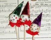 Vintage Clown Cup Cake Toppers, Circus Sticks