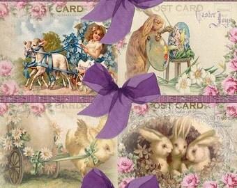 INSTANT DOWNLOAD  Vintage EASTER Postcard Design  No:28  Personal Use Only