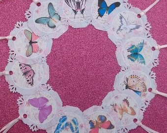 Shabby Chic BUTTERFLIES Medium Gift Tags set of 12  No.266