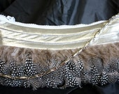 Silver Crinkle Leather w/ Feathers Rhinestone Zipper- IN STOCK Ready to Ship