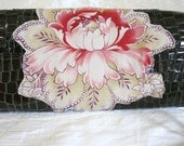 Olive Green Patent Leather Clutch with Floral Applique- IN STOCK Ready to Ship