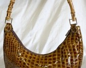 Crocodile Textured Patent Leather Purse with Bamboo Handle