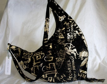 Black Suede with Gold Graffiti Print Shoulder/Crossbody- IN STOCK Ready to Ship