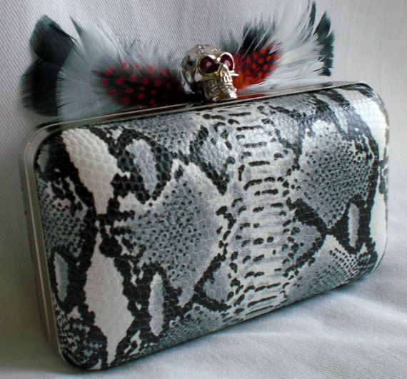 Skull Clutch with Snake Print leather and Feathers