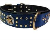 Dog Collar Leather Laszlo's Blue Star