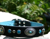 Black or White and Turquoise Leather Dog Collar