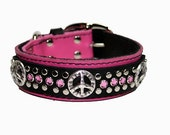 Hot Pink /Black Leather Peace Sign Dog Collar