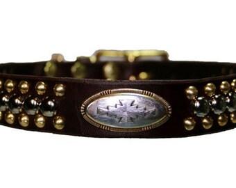 Brass and Sliver Studded Custom Dog Collar