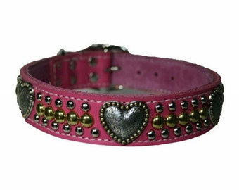 Triple Heart Dog Collar Choose Your Leather Color