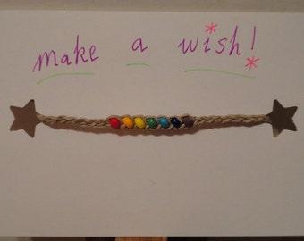 Hemp Beaded Wish Anklet/Bracelet - You Pick Color